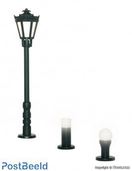 Garden lamps set, 3 lights, black