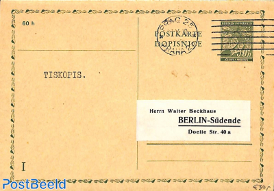 Reply Paid Postcard 50/50h to Berlin