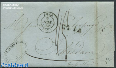 Folding letter from Lille to Schiedam