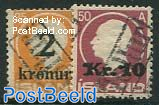 Overprints 2v with Tollur cancellation