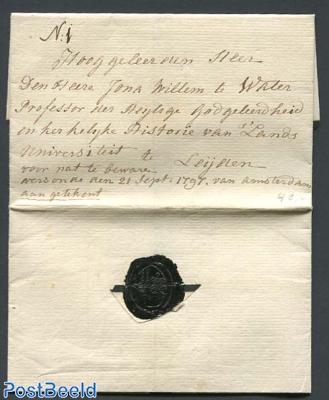Folding letter from Amsterdam to Leiden
