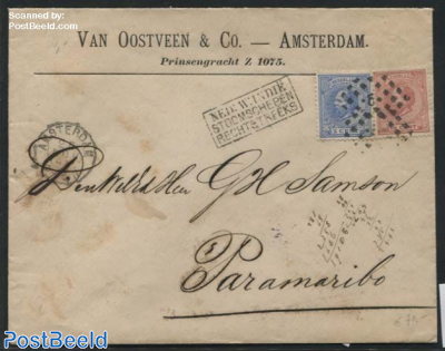Ship Mail letter to Paramaribo [NED:W:INDIE STOOMSCHEPEN RECHTSTREEKS]