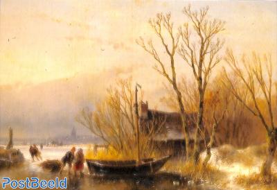 Andreas Schelfhout, IJsgezicht met houtsprokkelaars, 1849