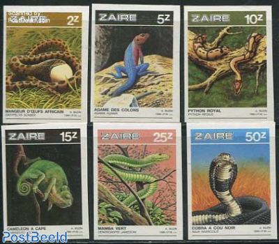 Reptiles 6v, imperforated
